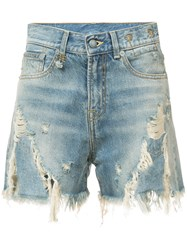 R 13 R13 Distressed Denim Shorts Blue