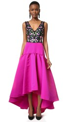 Marchesa High Low Gown With Floral Embroidered Bodice Fuchsia