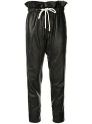 Bassike Leather Paper Bag Trousers Black