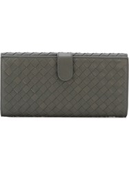 Bottega Veneta Woven Leather Flap Wallet Grey