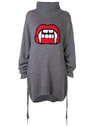 Haculla Fanged Up Turtleneck Knit Dress Grey