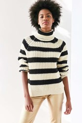 Bdg Aria Striped Turtleneck Sweater Black And White