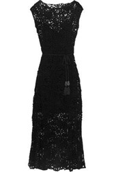 Miguelina Woman Georgia Belted Cotton Guipure Lace Maxi Dress Black