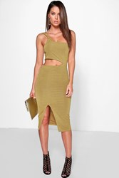 Boohoo One Strap Cut Out Waist Split Midi Dress Olive