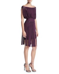 Herve Leger Off The Shoulder Fringe And Hardware Cocktail Dress Wine