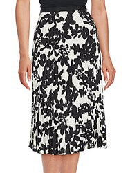 Karl Lagerfeld Accordion Pleated Floral Skirt Ivory Blac