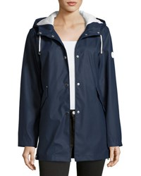 French Connection Snap Front Smooth Hooded Jacket Blue