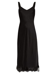 Helmut Lang V Neck Lace Hem Satin Slip Dress Black