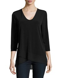 Ellen Tracy Neo Romanticism Overlapping Hem Top Black
