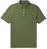 Incotex Slim Fit Cotton Pique Polo Shirt Army Green