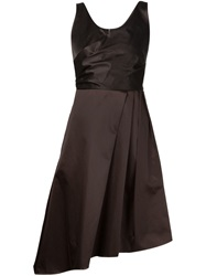 Carven Pleated Details Flared Dress Brown