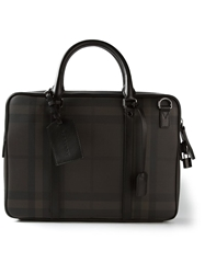 Burberry Checked Satchel Brown