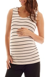 Everly Grey Women's Cecilia Maternity Nursing Tank And Pants Set Sand Stripe
