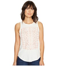 Lucky Brand Coral Embroidered Tank Top Marshmallow Women's Sleeveless Blue