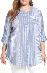 Vince Camuto Plus Size Women's Two By Variegated Stripe Linen Blend Tunic
