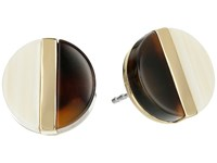 Michael Kors Color Block Studs Earrings Gold Tort Horn Earring Brown