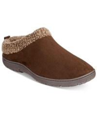32 Degrees Men's Faux Suede Roll Collar Clog Slippers Brown