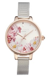 Ted Baker London Kate Mesh Strap Watch 36Mm Silver Floral Rose Gold
