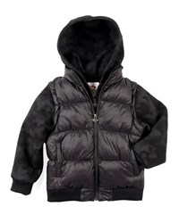 Appaman Turnstile Hooded Quilted Jacket W Zip Off Sleeves Black