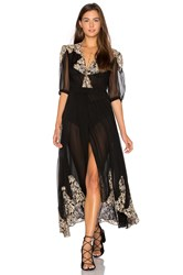 Nightcap By Carisa Rene Antique Lace Wrap Gown Black