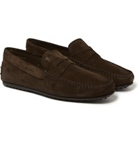 Tod's City Gommino Suede Loafers Dark Brown