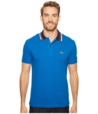 Lacoste Short Sleeve Semi Fancy Bold Stripe Collar Polo Regular Sapphire Blue Men's Short Sleeve Pullover