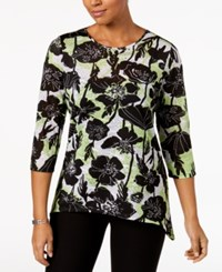Alfred Dunner In The Limelight Embellished Asymmetrical Top Multi