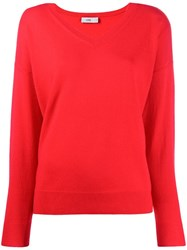 Closed V Neck Fine Knit Sweater Red
