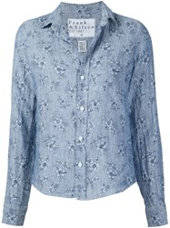 Frank And Eileen 'Barry' Floral Print Shirt Blue