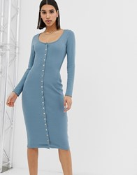 Missguided Popper Through Midi Dress In Blue