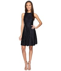 Donna Morgan Sleeveless Chevron Lace Fit And Flare With Full Skirt Marine Navy Women's Dress