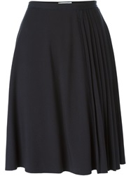 Carven Pleated Midi Skirt Blue