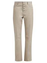 Joseph Den High Rise Leather Trousers Light Brown