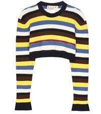 Marni Cotton And Virgin Wool Cropped Sweater Multicoloured