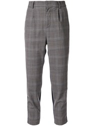 Loveless Cropped Checked Trousers Grey