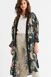 Urban Outfitters Cinched Sleeve Floral Kimono Black Multi