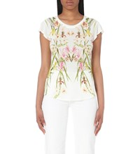 Karen Millen Orchid Print Jersey And Chiffon Top Grey