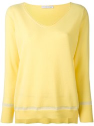 Fabiana Filippi V Neck Jumper Women Polyamide Polyester Viscose Cashmere 46 Yellow Orange