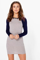Boohoo Darcy Raglan Sleeve Bodycon Dress Navy