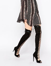 Daisy Street Black Thigh High Lace Up Boots Black