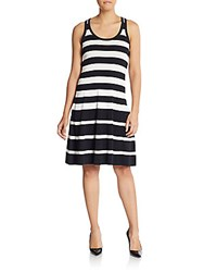 Dkny Striped Racerback Dress Black