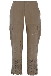 Sea Broderie Anglaise Ramie Tapered Pants Army Green