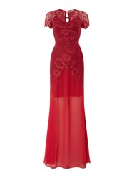 Body Frock All Over Lace Maxi Dress Red