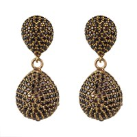 Latelita London Capri Double Drop Earring Chocolate Cz Gold Brown