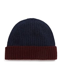 Bloomingdale's The Mens Store At Bloomingdales Color Block Cashmere Cuff Hat Steel Blue Deep Wine