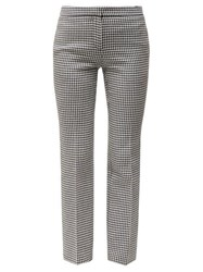Alexander Mcqueen Mid Rise Tailored Houndstooth Wool Trousers Black White