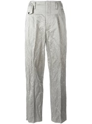 Golden Goose Deluxe Brand Crinkle Effect Trousers Grey