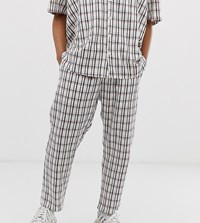 Milk It Vintage Relaxed Cropped Trousers In Check Co White