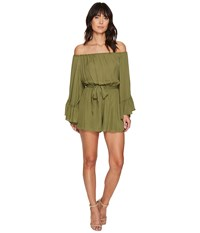 Nicole Miller Harlow Flare Sleeve Tie Romper Moss Stone Women's Jumpsuit And Rompers One Piece Green
