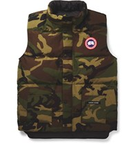 Canada Goose Freestyle Camouflage Print Quilted Shell Down Gilet Green
